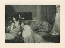 ANTIQUE VICTORIAN MAN WOMAN KISSING ROMANCE SETTEE EVENTAIL FAN RARE ART PRINT