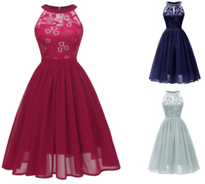abito elegante cerimonia donna damigella vestito corto senza maniche scollo tond