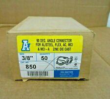 "BOX OF 50 NIB ARLINGTON 850 3/8"" 90 DEGREE FLEX CONNECTOR DIE CAST ZINC"