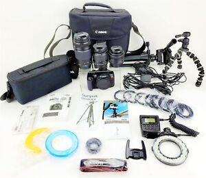 Digital Camera Canon Rebel T6 EOS 1300D Lens EFS 35mm Macro Ring Flash Tripod