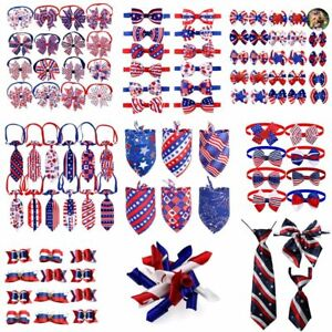 50pcs 4th of July Dog Collar Pet Accessories Bandana Hair Bows Large Tie Neck