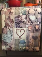 Beach Wood Wallpaper Panels Stone Love Hearts Aqua Blue Cream Zen Bathroom