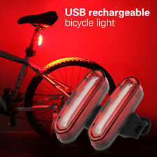 USB Rechargeable COB LED MTB Bike Bicycle Cycling Front Rear Light Lamp 4 Modes