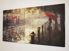 RED UMBRELLA LONDON CANVAS PRINT WALL ART PICTURE  18 X 32 INCH