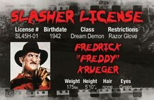 A Nightmare on Elm Street FREDDY Halloween costume fake id card Drivers License