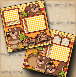 NUTTY BUNCH 2 premade scrapbook pages paper piecing layout FAMILY fall DIGISCRAP
