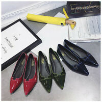 US Women Pointed Toe Shoes Casual Office Summer Ballet Flats Dress Solid Color