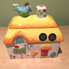 Hand Painted Chickens Butter Dish Novelty Colourful M & S Marks and Spencer