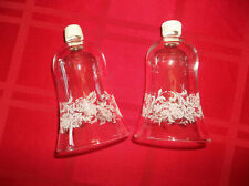 Homco Two Clear Glass with Etched Floral Design Votive Cups Candle Holders