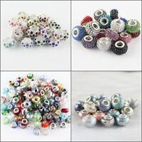 20X Random Mixed Multicolor Rondelle Big Hole Charm Beads for European Bracelet