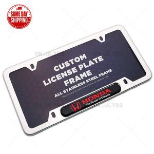 For Honda Sport Front / Rear License Plate Frame Cover Stainless Steel Chrome