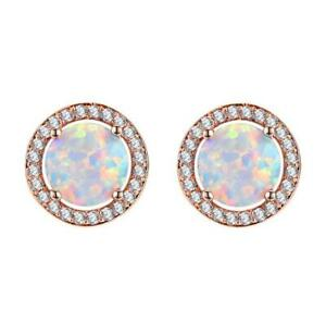Rose Gold Plated 925 sterling Silver Flower Style white Fire Opal Stud Earrings