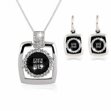 New square black crystal rhinestone party club Jewelry Necklace earring set