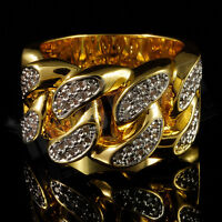 18K Gold Plated Bling Out ICED CZ CUBAN LINK Band Mens Rhodium Ring