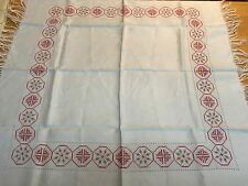 """VINTAGE 30"""" TABLE TOPPER SCANDINAVIAN/ SWEDISH STYLE DESIGN RED/GREY EMBROIDERY"""