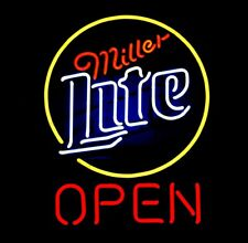 "Miller Lite Open Neon Light Sign 24""x20"" Beer Bar Decor Lamp Glass"
