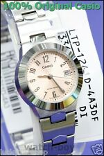 LTP-1241D-4A3 Pink Casio Stainless Steel Band Ladies Watches Date Display New