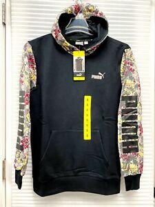 Puma Graffiti Hoodie Sweatshirt Pullover Ribbed Cuffs / Waist Black Size S or M