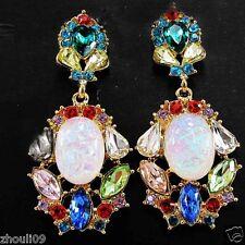 New Lady Woman Elegant clear crystal Rhinestone long Ear Studs hoop earrings 387
