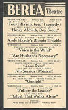 1944 PC BEREA THEATRE OH JAYNE EYRE O WELLS & J FONTAINE SEE INFO