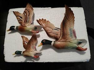 Mallard Flying Ducks, Nostalgia Item, Hand Made, Ceramic. Reproductions