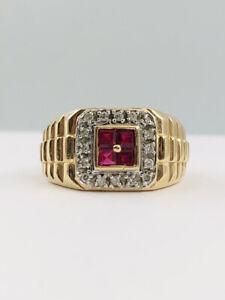 Vtg 14K Yellow Gold Princess Cut Natural Ruby & Diamond Rolex Design Men's Ring