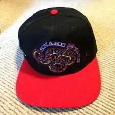 Vintage Marlboro Snake Pass Big Logo Spell Out Leather Strap Hat Cap Black