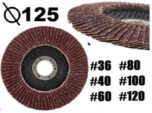 """125mm 5"""" FLAP DISCS SANDING DISC Grit 36 40 60 80 100 120Angle Grinder"""