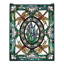 Dragonfly Floral Stained Glass Window Panel Tiffany Style Iris Lily Plants