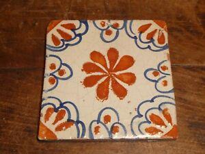 ANTIQUE VINTAGE OLD DECORATIVE SPANISH CERAMIC TILE  PINWHEEL BLUE AND BROWN