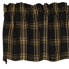 Country Primitive Classic Black Homespun Valance Rustic Farmhouse Cabin Curtain