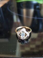 Vintage Stylish 9ct 375 Gold Aquamarine & Diamond Ring size Q1/2