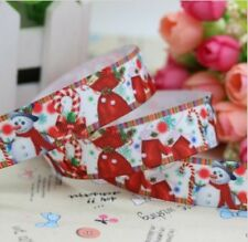 "1M 22mm 7/8"" SNOWMAN CANDY CANE CHRISTMAS GROSGRAIN RIBBON 99p CAKE PARTY XMAS"