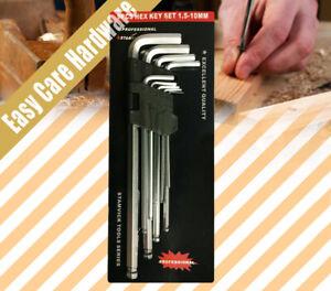 9 Psc Long Arm Ball End Allen Allan Hex Key Wrench Set 1.5 - 10mm Kit NEW