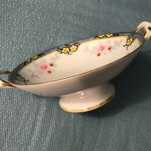 Nippon Vintage Pedestal Bowl with handles, Hand painted, Gold gilded edge