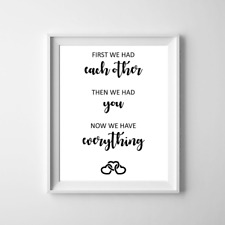 Family Love Wall Art Print Home Decor Poster Quote 'First We Had Each Other'