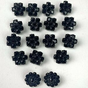 Black Rhinestones Flower Cluster Design Shank Button lot of 17 buttons