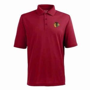 New Licensed Chicago Blackhawks Antigua Red Polo Shirt Size S MSP $49.99 _s111