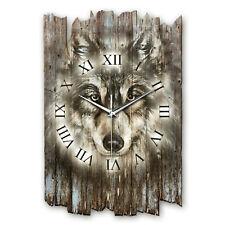 Wolf Wildnis Shabby Style Funk Wanduhr leise Funkuhr aus Holz * Kreative Feder
