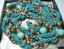 Vintage Jewellery Art Deco Turquoise & Coral Glass bead Intricate Long NECKLACE