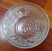 Vintage Clear Pressed Glass Indonesia Embossed Bowl Fruit Dish
