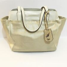 Diane von Furstenberg leather and metallic canvas bag