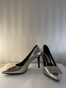 ACNE STUDIOS Patent Silver Leather Face Pumps Heels Size 38