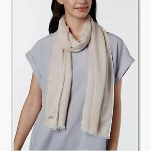 CALVIN KLEIN Chambray woven women's scarf - Latte/Sand- New