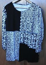 Size 20 BLACK & WHITE 'Patched Animal print long sleeved Top