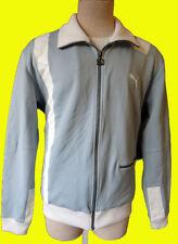 Vintage PUMA track suit jacket sweat racing stripe M grey gray metal zipper cafe