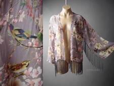 Japanese Asian Floral Bird Print Vtg-y 20s 30s Fringe Bed Kimono 106 ac Jacket S
