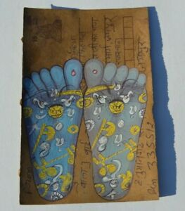 OLD RAJASTHAN MINIATURE PAINTED INDIAN POSTCARD OF REFLEXOLOGY   FEET NO  01