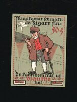Notgeld 50 Pf  Stadtkasse VLOTHO a. d. Weser 1921  Motiv Zigarre