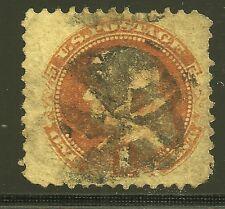 Scott #112, Single 1869 Benjamin Franklin 1c FVF Used